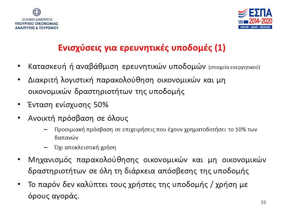 Ενισχύσεις για ερευνητικές υποδομές (1) Κατασκευή ή αναβάθμιση ερευνητικών υποδομών (στοιχεία ενεργητικού) Διακριτή λογιστική παρακολούθηση οικονομικών και μη οικονομικών δραστηριοτήτων της υποδομής Ένταση ενίσχυσης 50% Ανοικτή πρόσβαση σε όλους – Προοιμιακή πρόσβαση σε επιχειρήσεις που έχουν χρηματοδοτήσει το 10% των δαπανών – Όχι αποκλειστική χρήση Μηχανισμός παρακολούθησης οικονομικών και μη οικονομικών δραστηριοτήτων σε όλη τη διάρκεια απόσβεσης της υποδομής Το παρόν δεν καλύπτει τους χρήστες της υποδομής / χρήση με όρους αγοράς.