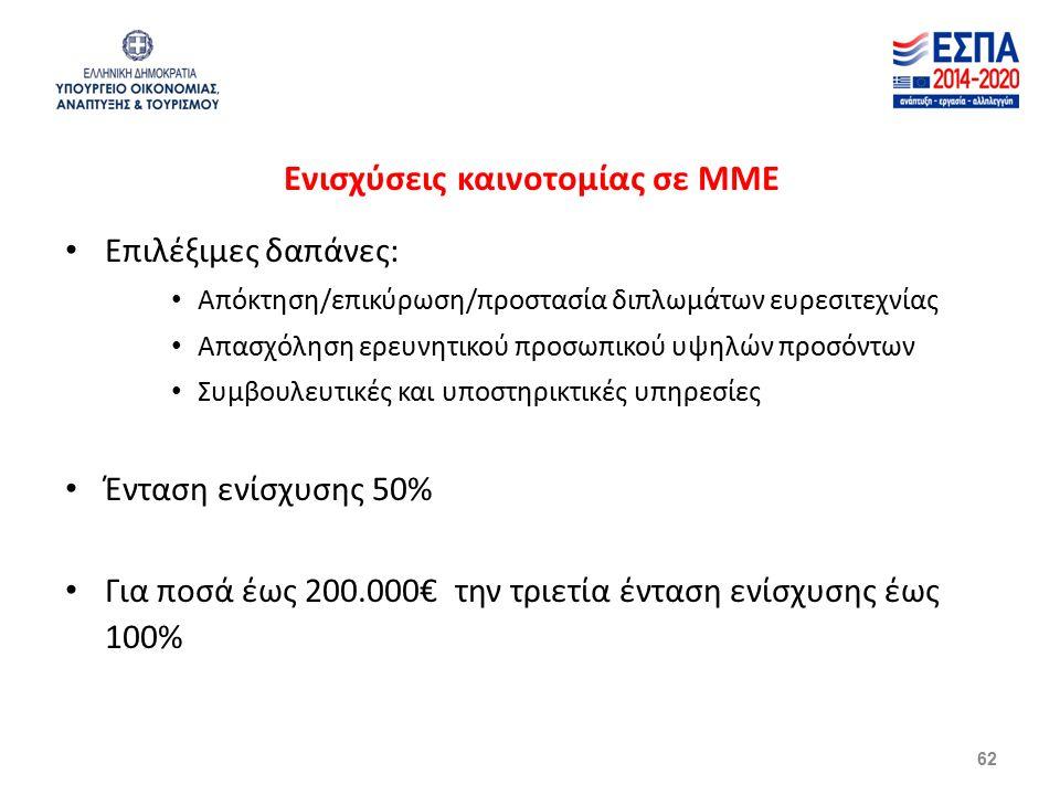 Ενισχύσεις καινοτομίας σε ΜΜΕ Επιλέξιμες δαπάνες: Απόκτηση/επικύρωση/προστασία διπλωμάτων ευρεσιτεχνίας Απασχόληση ερευνητικού προσωπικού υψηλών προσόντων Συμβουλευτικές και υποστηρικτικές υπηρεσίες Ένταση ενίσχυσης 50% Για ποσά έως 200.000€ την τριετία ένταση ενίσχυσης έως 100% 62