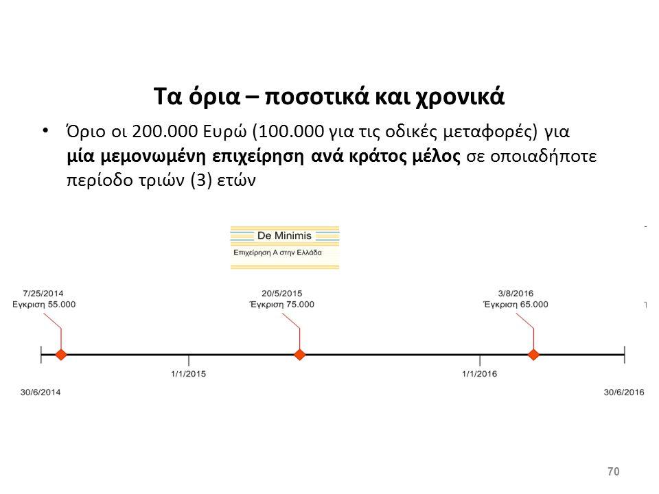 70 Τα όρια – ποσοτικά και χρονικά Όριο οι 200.000 Ευρώ (100.000 για τις οδικές μεταφορές) για μία μεμονωμένη επιχείρηση ανά κράτος μέλος σε οποιαδήποτ