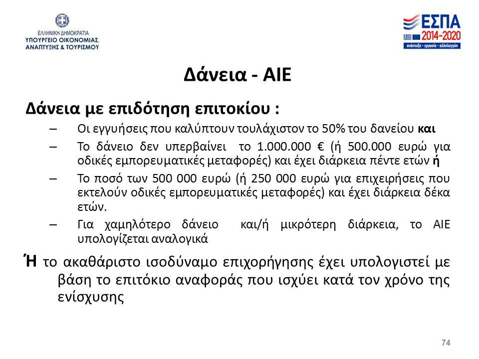 Δάνεια - ΑΙΕ Δάνεια με επιδότηση επιτοκίου : – Οι εγγυήσεις που καλύπτουν τουλάχιστον το 50% του δανείου και – Το δάνειο δεν υπερβαίνει το 1.000.000 € (ή 500.000 ευρώ για οδικές εμπορευματικές μεταφορές) και έχει διάρκεια πέντε ετών ή – Το ποσό των 500 000 ευρώ (ή 250 000 ευρώ για επιχειρήσεις που εκτελούν οδικές εμπορευματικές μεταφορές) και έχει διάρκεια δέκα ετών.