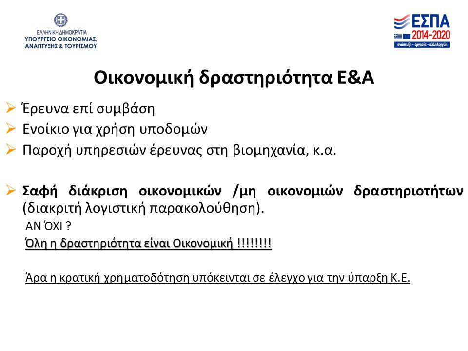 Οικονομική δραστηριότητα Ε&Α  Έρευνα επί συμβάση  Ενοίκιο για χρήση υποδομών  Παροχή υπηρεσιών έρευνας στη βιομηχανία, κ.α.  Σαφή διάκριση οικονομ