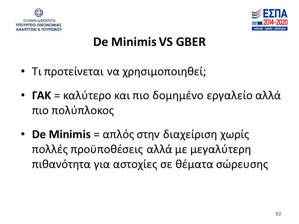 82 De Minimis VS GBER Τι προτείνεται να χρησιμοποιηθεί; ΓΑΚ = καλύτερο και πιο δομημένο εργαλείο αλλά πιο πολύπλοκος De Minimis = απλός στην διαχείριση χωρίς πολλές προϋποθέσεις αλλά με μεγαλύτερη πιθανότητα για αστοχίες σε θέματα σώρευσης
