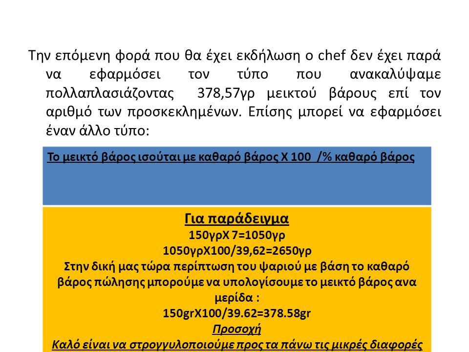 Την επόμενη φορά που θα έχει εκδήλωση ο chef δεν έχει παρά να εφαρμόσει τον τύπο που ανακαλύψαμε πολλαπλασιάζοντας 378,57γρ μεικτού βάρους επί τον αριθμό των προσκεκλημένων.