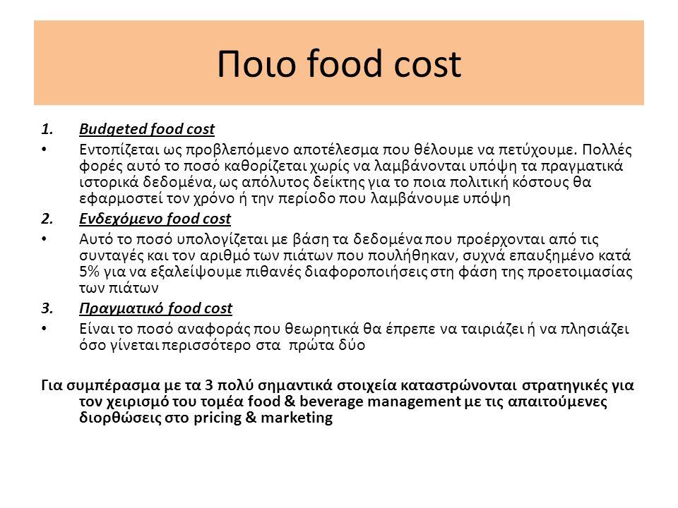 Ποιο food cost 1.Budgeted food cost Εντοπίζεται ως προβλεπόμενο αποτέλεσμα που θέλουμε να πετύχουμε.