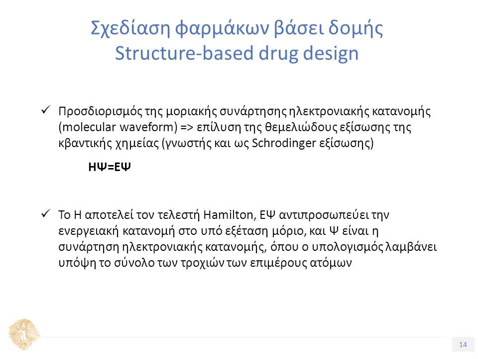 14 Τίτλος Ενότητας Σχεδίαση φαρμάκων βάσει δομής Structure-based drug design Προσδιορισμός της μοριακής συνάρτησης ηλεκτρονιακής κατανομής (molecular waveform) => επίλυση της θεμελιώδους εξίσωσης της κβαντικής χημείας (γνωστής και ως Schrodinger εξίσωσης) ΗΨ=ΕΨ To H αποτελεί τον τελεστή Hamilton, ΕΨ αντιπροσωπεύει την ενεργειακή κατανομή στο υπό εξέταση μόριο, και Ψ είναι η συνάρτηση ηλεκτρονιακής κατανομής, όπου ο υπολογισμός λαμβάνει υπόψη το σύνολο των τροχιών των επιμέρους ατόμων