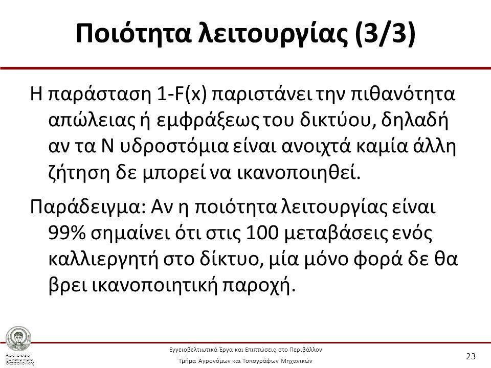 Αριστοτέλειο Πανεπιστήμιο Θεσσαλονίκης Εγγειοβελτιωτικά Έργα και Επιπτώσεις στο Περιβάλλον Τμήμα Αγρονόμων και Τοπογράφων Μηχανικών Ποιότητα λειτουργίας (3/3) Η παράσταση 1-F(x) παριστάνει την πιθανότητα απώλειας ή εμφράξεως του δικτύου, δηλαδή αν τα Ν υδροστόμια είναι ανοιχτά καμία άλλη ζήτηση δε μπορεί να ικανοποιηθεί.