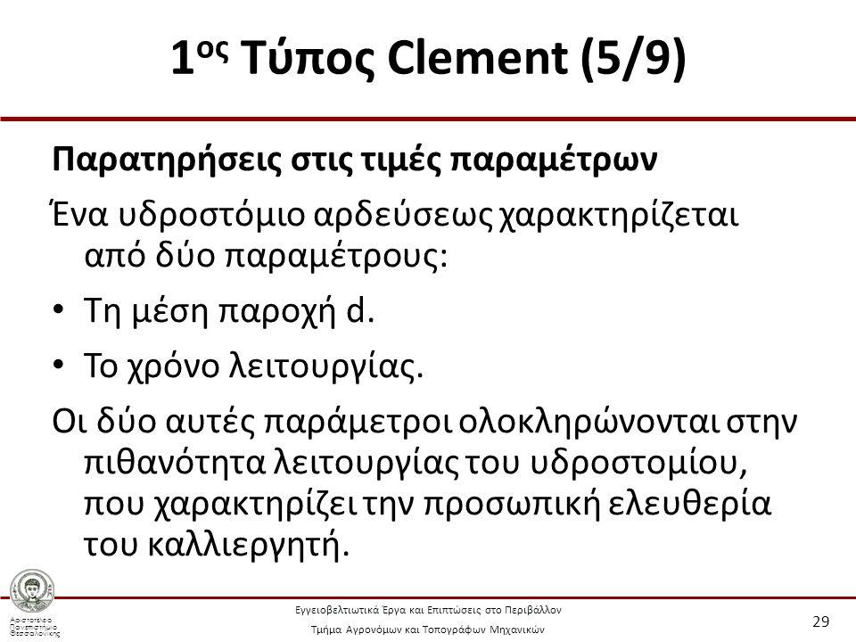 Αριστοτέλειο Πανεπιστήμιο Θεσσαλονίκης Εγγειοβελτιωτικά Έργα και Επιπτώσεις στο Περιβάλλον Τμήμα Αγρονόμων και Τοπογράφων Μηχανικών 1 ος Τύπος Clement (5/9) Παρατηρήσεις στις τιμές παραμέτρων Ένα υδροστόμιο αρδεύσεως χαρακτηρίζεται από δύο παραμέτρους: Τη μέση παροχή d.