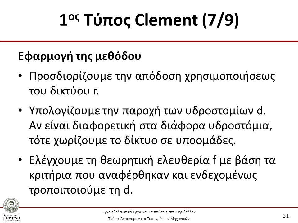 Αριστοτέλειο Πανεπιστήμιο Θεσσαλονίκης Εγγειοβελτιωτικά Έργα και Επιπτώσεις στο Περιβάλλον Τμήμα Αγρονόμων και Τοπογράφων Μηχανικών 1 ος Τύπος Clement (7/9) Εφαρμογή της μεθόδου Προσδιορίζουμε την απόδοση χρησιμοποιήσεως του δικτύου r.