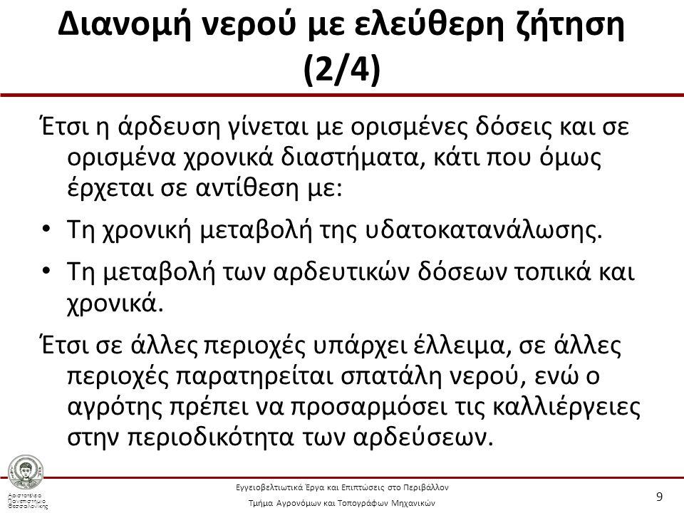 Αριστοτέλειο Πανεπιστήμιο Θεσσαλονίκης Εγγειοβελτιωτικά Έργα και Επιπτώσεις στο Περιβάλλον Τμήμα Αγρονόμων και Τοπογράφων Μηχανικών Διανομή νερού με ελεύθερη ζήτηση (3/4) Τελικά η άρδευση με «ωρολόγιο πρόγραμμα» είναι αποδεκτή μόνο σε περιοχές με ομοιογενή εδάφη, όπου και εφαρμόζεται η μονοκαλλιέργεια.