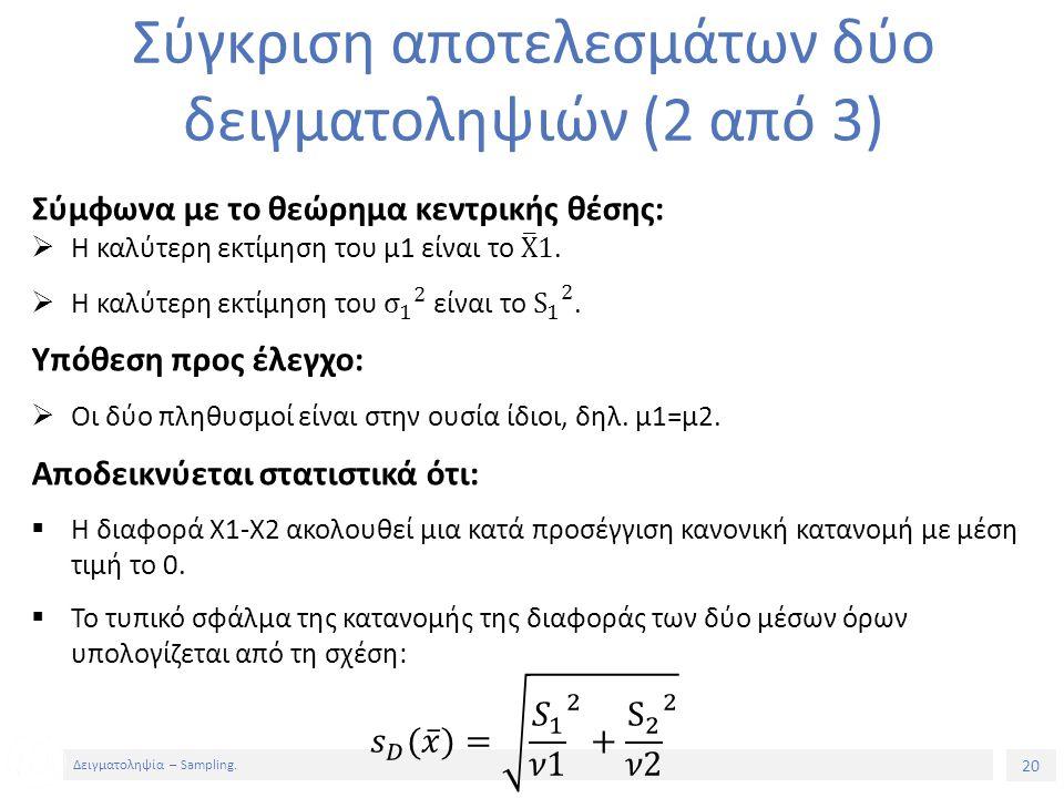 20 Δειγματοληψία – Sampling. Σύγκριση αποτελεσμάτων δύο δειγματοληψιών (2 από 3)
