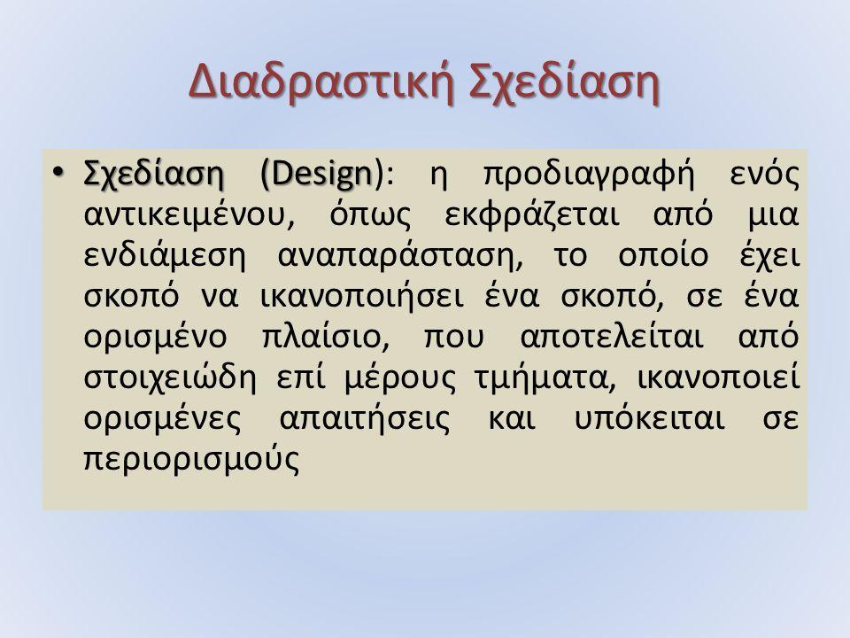 Διαδραστική Σχεδίαση Σχεδίαση (Design Σχεδίαση (Design): η προδιαγραφή ενός αντικειμένου, όπως εκφράζεται από μια ενδιάμεση αναπαράσταση, το οποίο έχει σκοπό να ικανοποιήσει ένα σκοπό, σε ένα ορισμένο πλαίσιο, που αποτελείται από στοιχειώδη επί μέρους τμήματα, ικανοποιεί ορισμένες απαιτήσεις και υπόκειται σε περιορισμούς