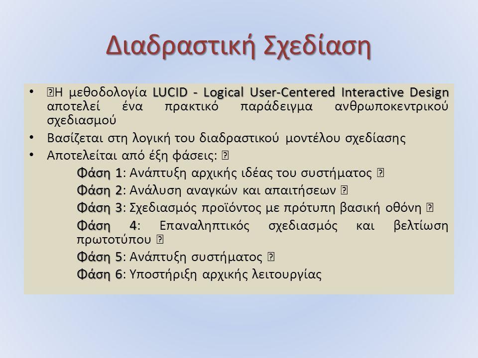 """Διαδραστική Σχεδίαση LUCID - Logical User-Centered Interactive Design """"Η µεθοδολογία LUCID - Logical User-Centered Interactive Design αποτελεί ένα πρακτικό παράδειγµα ανθρωποκεντρικού σχεδιασµού Βασίζεται στη λογική του διαδραστικού µοντέλου σχεδίασης Αποτελείται από έξη φάσεις: """" Φάση 1 Φάση 1: Ανάπτυξη αρχικής ιδέας του συστήµατος """" Φάση 2 Φάση 2: Ανάλυση αναγκών και απαιτήσεων """" Φάση 3 Φάση 3: Σχεδιασµός προϊόντος µε πρότυπη βασική οθόνη """" Φάση 4 Φάση 4: Επαναληπτικός σχεδιασµός και βελτίωση πρωτοτύπου """" Φάση 5 Φάση 5: Ανάπτυξη συστήµατος """" Φάση 6 Φάση 6: Υποστήριξη αρχικής λειτουργίας"""