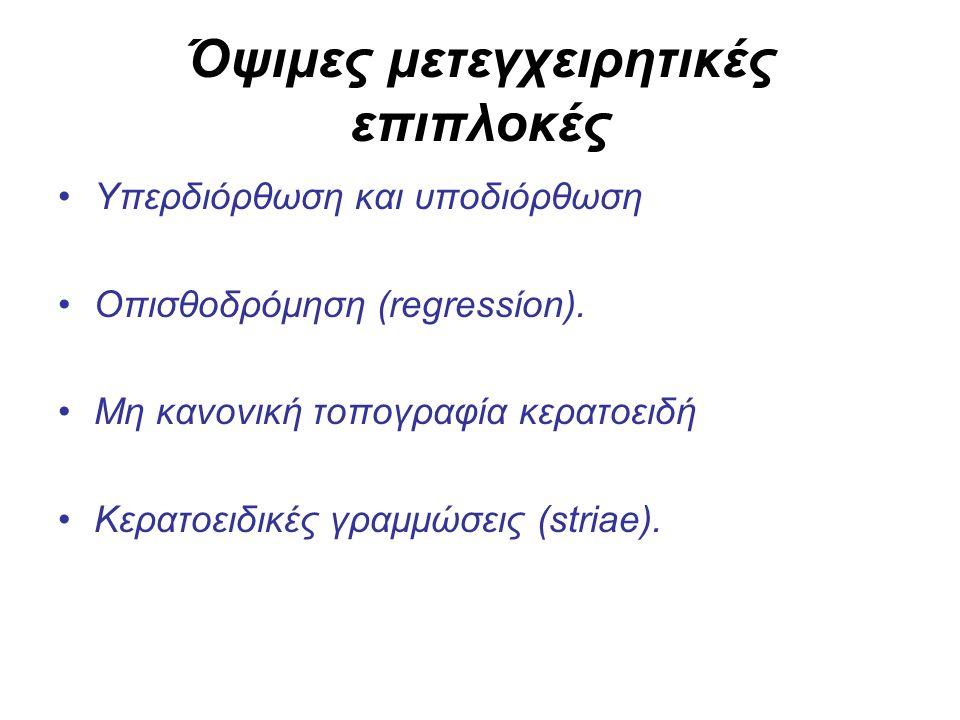 Όψιμες μετεγχειρητικές επιπλοκές Υπερδιόρθωση και υποδιόρθωση Οπισθοδρόμηση (regressίon).