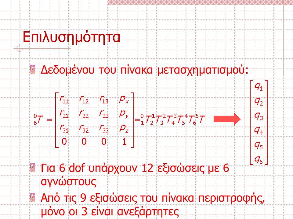 Επιλυσημότητα Δεδομένου του πίνακα μετασχηματισμού: Για 6 dof υπάρχουν 12 εξισώσεις με 6 αγνώστους Από τις 9 εξισώσεις του πίνακα περιστροφής, μόνο οι 3 είναι ανεξάρτητες