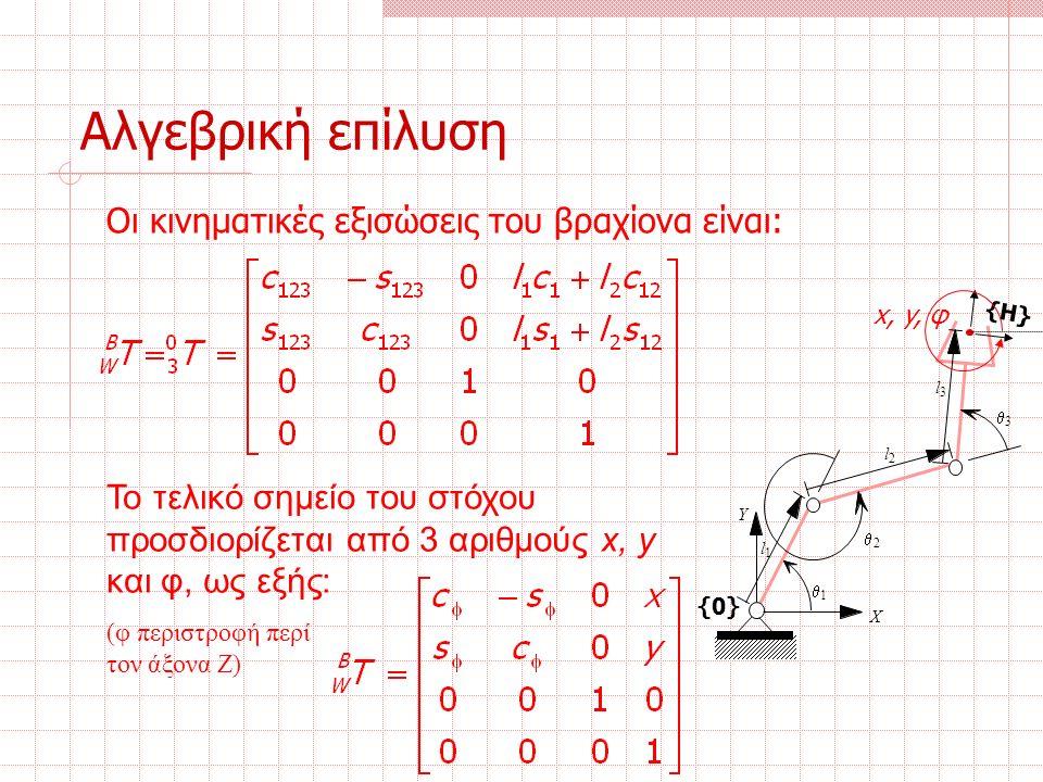 Οι κινηματικές εξισώσεις του βραχίονα είναι: Το τελικό σημείο του στόχου προσδιορίζεται από 3 αριθμούς x, y και φ, ως εξής: (φ περιστροφή περί τον άξονα Ζ) Αλγεβρική επίλυση {0} l 1 l 2 l 3  3  2  1 Χ Υ {H} x, y, φ