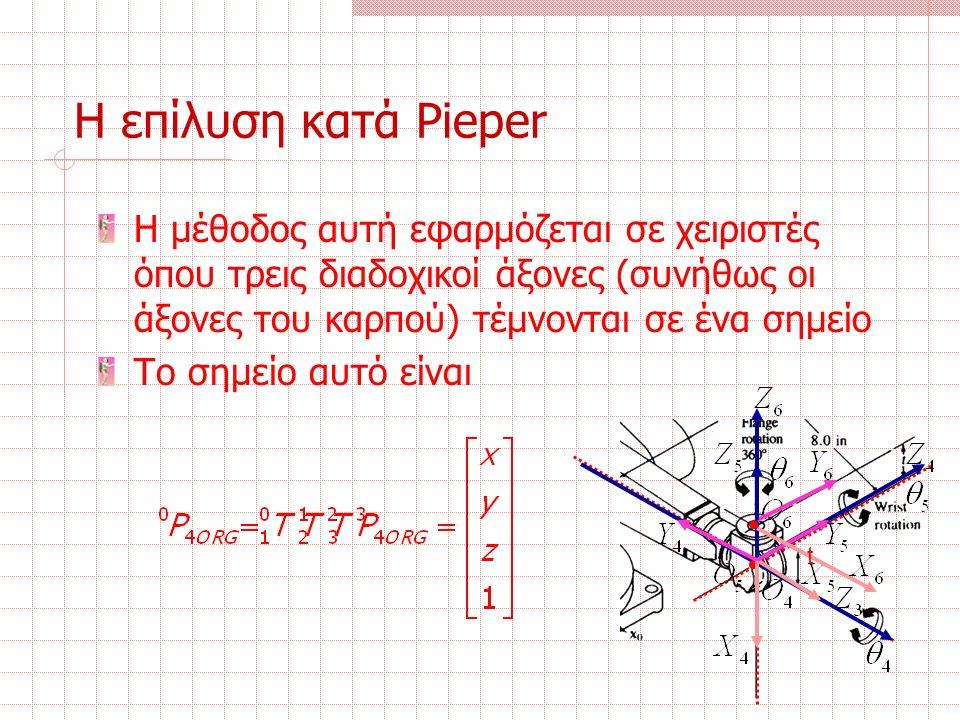 Η επίλυση κατά Pieper Η μέθοδος αυτή εφαρμόζεται σε χειριστές όπου τρεις διαδοχικοί άξονες (συνήθως οι άξονες του καρπού) τέμνονται σε ένα σημείο Το σημείο αυτό είναι t