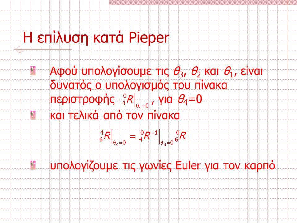 Η επίλυση κατά Pieper Αφού υπολογίσουμε τις θ 3, θ 2 και θ 1, είναι δυνατός ο υπολογισμός του πίνακα περιστροφής, για θ 4 =0 και τελικά από τον πίνακα υπολογίζουμε τις γωνίες Euler για τον καρπό