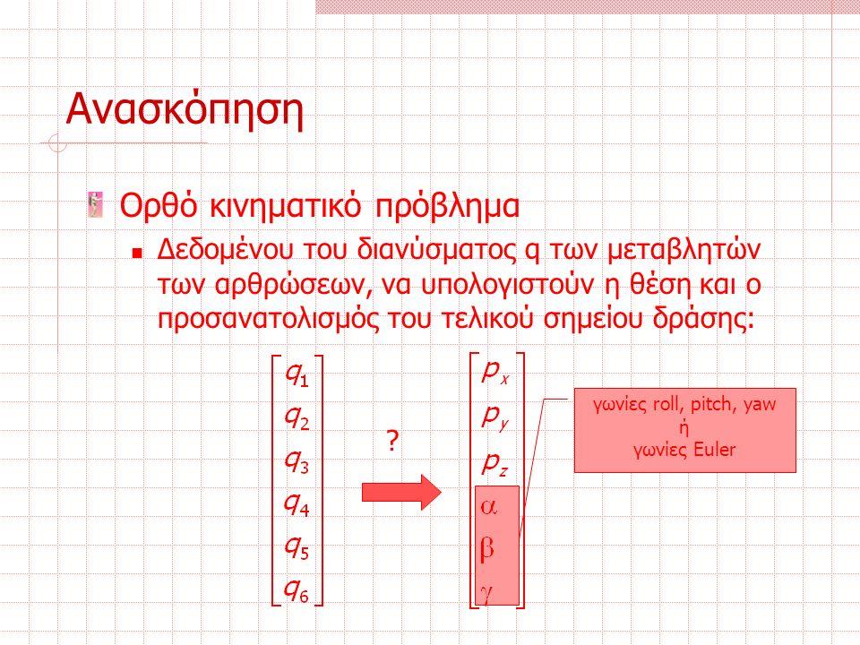 Ανασκόπηση Ορθό κινηματικό πρόβλημα Δεδομένου του διανύσματος q των μεταβλητών των αρθρώσεων, να υπολογιστούν η θέση και ο προσανατολισμός του τελικού σημείου δράσης: γωνίες roll, pitch, yaw ή γωνίες Euler