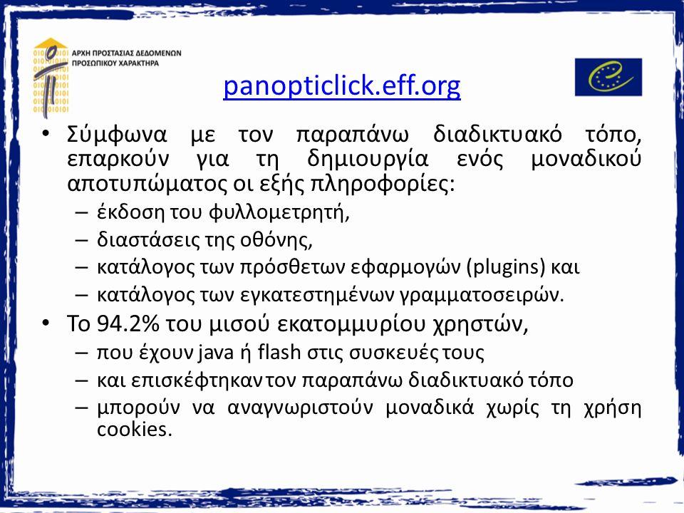 panopticlick.eff.org Σύμφωνα με τον παραπάνω διαδικτυακό τόπο, επαρκούν για τη δημιουργία ενός μοναδικού αποτυπώματος οι εξής πληροφορίες: – έκδοση του φυλλομετρητή, – διαστάσεις της οθόνης, – κατάλογος των πρόσθετων εφαρμογών (plugins) και – κατάλογος των εγκατεστημένων γραμματοσειρών.