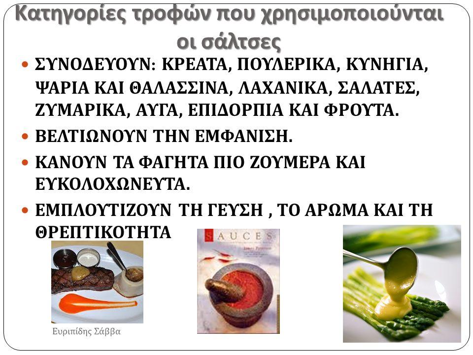 Κατηγορίες τροφών που χρησιμοποιούνται οι σάλτσες Ευριπίδης Σάββα ΣΥΝΟΔΕΥΟΥΝ : ΚΡΕΑΤΑ, ΠΟΥΛΕΡΙΚΑ, ΚΥΝΗΓΙΑ, ΨΑΡΙΑ ΚΑΙ ΘΑΛΑΣΣΙΝΑ, ΛΑΧΑΝΙΚΑ, ΣΑΛΑΤΕΣ, ΖΥΜ