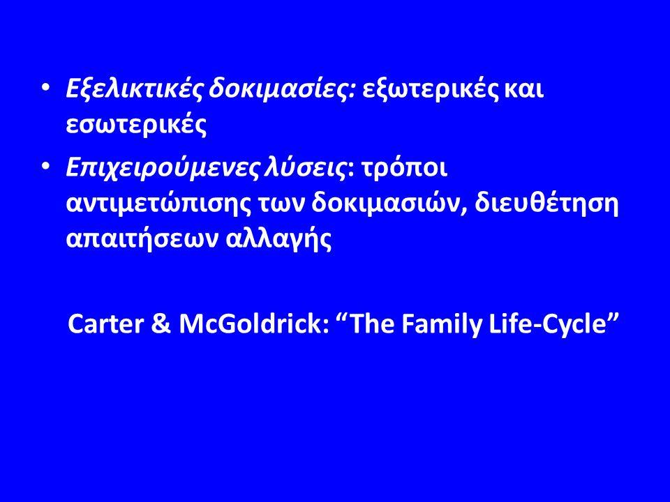 Εξελικτικές δοκιμασίες: εξωτερικές και εσωτερικές Επιχειρούμενες λύσεις: τρόποι αντιμετώπισης των δοκιμασιών, διευθέτηση απαιτήσεων αλλαγής Carter & McGoldrick: The Family Life-Cycle