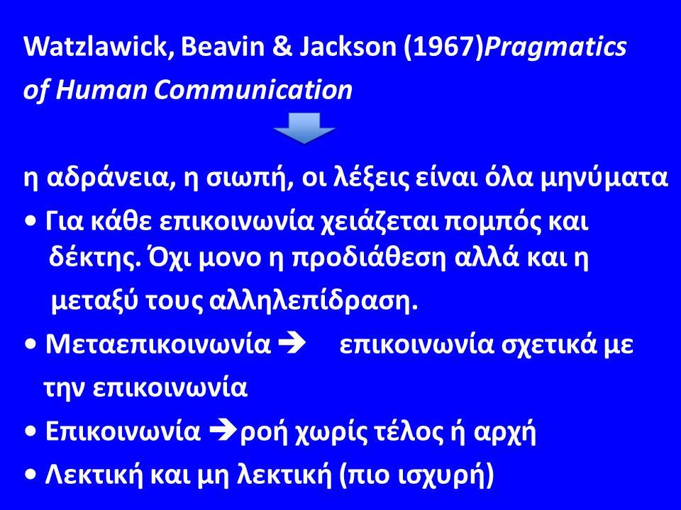 Watzlawick, Beavin & Jackson (1967)Pragmatics of Human Communication η αδράνεια, η σιωπή, οι λέξεις είναι όλα μηνύματα Για κάθε επικοινωνία χειάζεται πομπός και δέκτης.