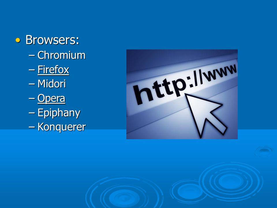 Browsers: –C–C–C–Chromium –F–F–F–Firefox –M–M–M–Midori –O–O–O–Opera –E–E–E–Epiphany –K–K–K–Konquerer