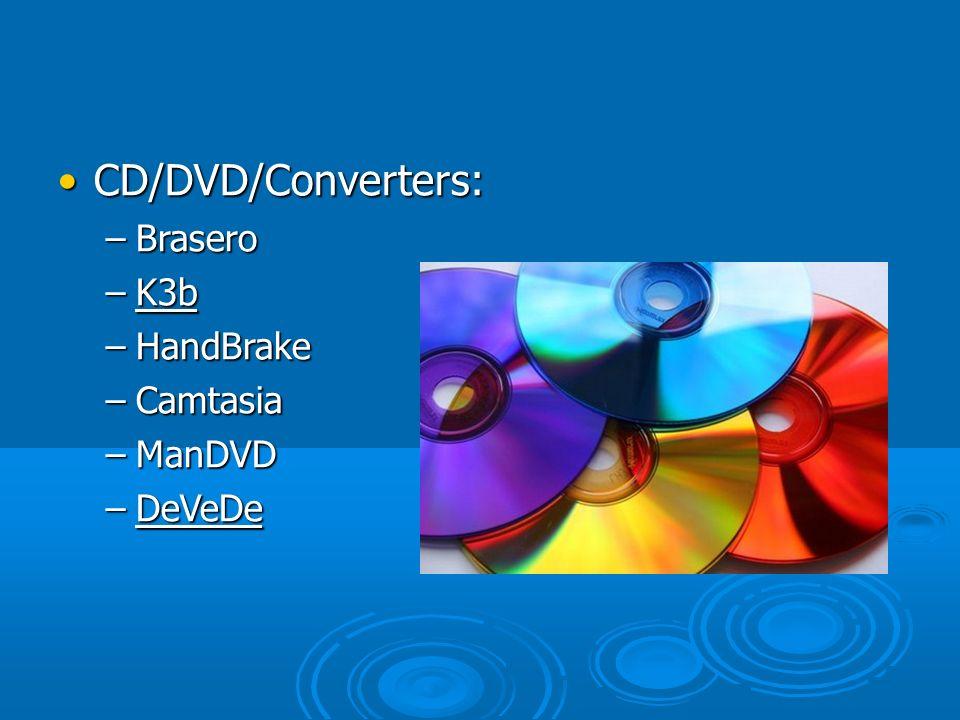 CD/DVD/Converters: –B–B–B–Brasero –K–K–K–K3b –H–H–H–HandBrake –C–C–C–Camtasia –M–M–M–ManDVD –D–D–D–DeVeDe
