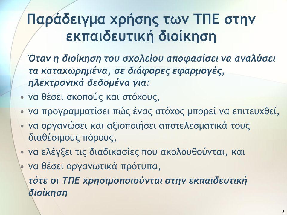 19 Βαθμός αξιοποίησης των ΤΠΕ στην οργάνωση και διοίκηση της σχολικής μονάδας Σκοπός: Διερεύνηση του βαθμού αξιοποίησης των ΤΠΕ στην οργάνωση-διαχείριση και διοίκηση στη δημοτική εκπαίδευση της Κύπρου Χρόνια διεξαγωγής έρευνας: 2007-2008 Ερευνητικά εργαλεία: ερωτηματολόγιο και ημιδομημένη συνέντευξη Πληθυσμός: Όλοι οι διευθυντές και βοηθοί διευθυντές δημοτικών σχολείων της Κύπρου Δείγμα: 25 διευθυντές και 54 βοηθοί διευθυντές Συμμετείχαν: 17 διευθυντές και 35 βοηθοί διευθυντές Αποτελέσματα