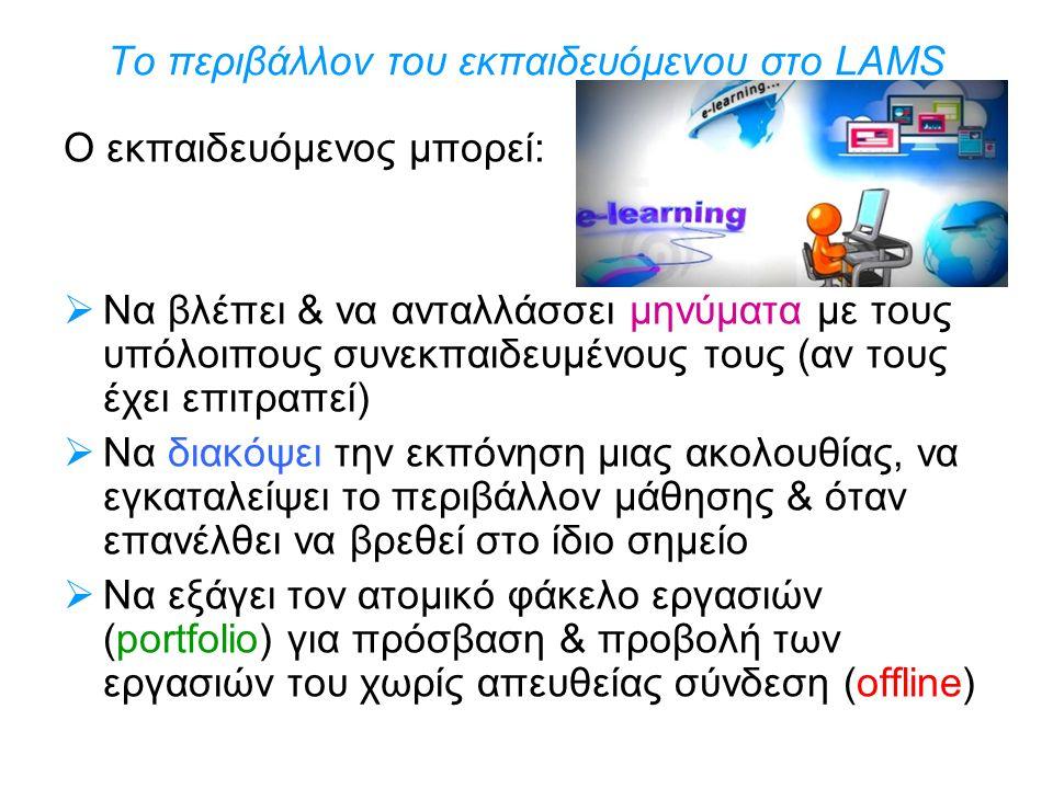 Το περιβάλλον του εκπαιδευόμενου στο LAMS Ο εκπαιδευόμενος μπορεί:  Να βλέπει & να ανταλλάσσει μηνύματα με τους υπόλοιπους συνεκπαιδευμένους τους (αν
