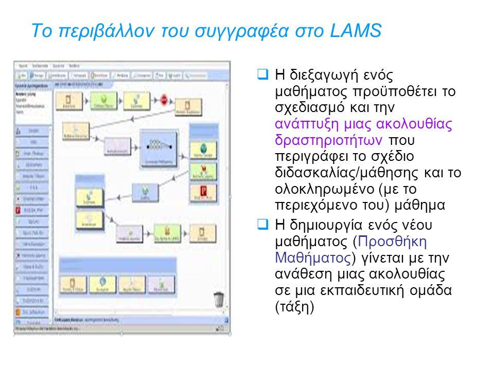 Το περιβάλλον του συγγραφέα στο LAMS  Η διεξαγωγή ενός μαθήματος προϋποθέτει το σχεδιασμό και την ανάπτυξη μιας ακολουθίας δραστηριοτήτων που περιγράφει το σχέδιο διδασκαλίας/μάθησης και το ολοκληρωμένο (με το περιεχόμενο του) μάθημα  Η δημιουργία ενός νέου μαθήματος (Προσθήκη Μαθήματος) γίνεται με την ανάθεση μιας ακολουθίας σε μια εκπαιδευτική ομάδα (τάξη)