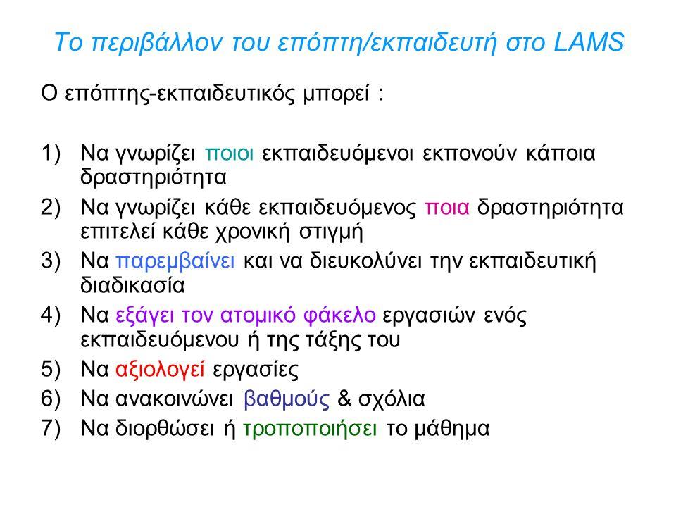 Το περιβάλλον του επόπτη/εκπαιδευτή στο LAMS Ο επόπτης-εκπαιδευτικός μπορεί : 1)Να γνωρίζει ποιοι εκπαιδευόμενοι εκπονούν κάποια δραστηριότητα 2)Να γνωρίζει κάθε εκπαιδευόμενος ποια δραστηριότητα επιτελεί κάθε χρονική στιγμή 3)Να παρεμβαίνει και να διευκολύνει την εκπαιδευτική διαδικασία 4)Να εξάγει τον ατομικό φάκελο εργασιών ενός εκπαιδευόμενου ή της τάξης του 5)Να αξιολογεί εργασίες 6)Να ανακοινώνει βαθμούς & σχόλια 7)Να διορθώσει ή τροποποιήσει το μάθημα