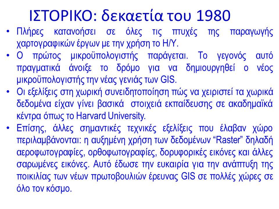 ΙΣΤΟΡΙΚΟ: δεκαετία του 1980 Πλήρες κατανοήσει σε όλες τις πτυχές της παραγωγής χαρτογραφικών έργων με την χρήση το Η/Υ.