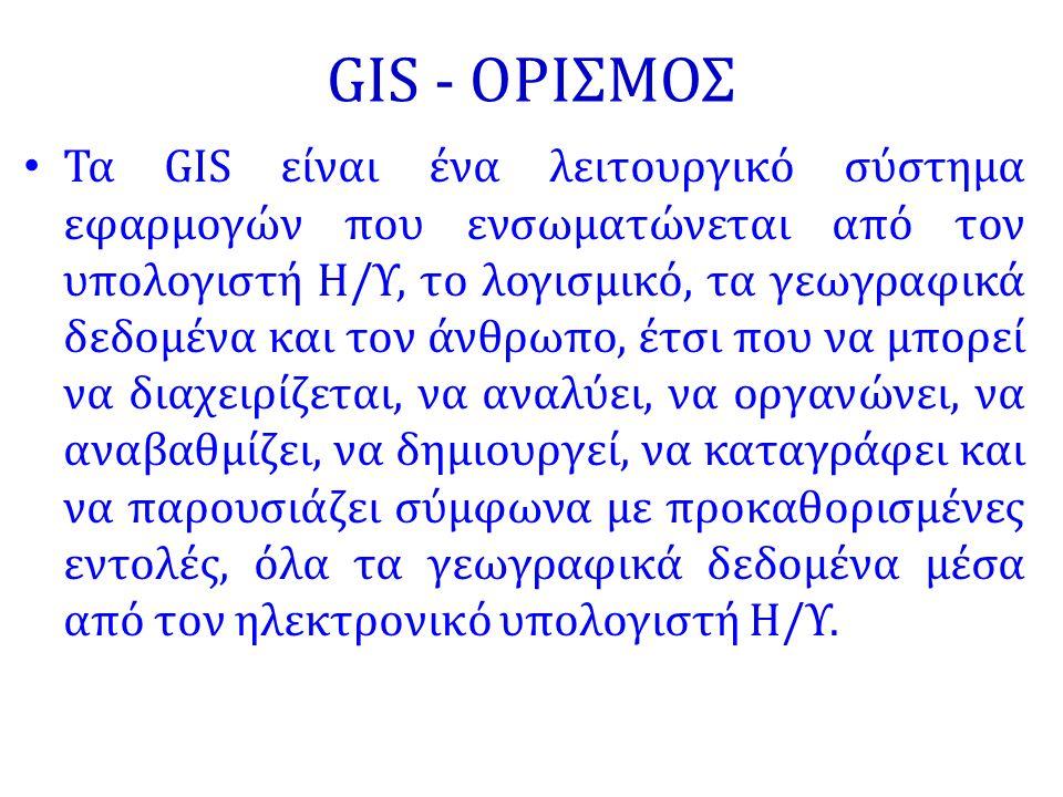 GIS - ΟΡΙΣΜΟΣ Τα GIS είναι ένα λειτουργικό σύστημα εφαρμογών που ενσωματώνεται από τον υπολογιστή Η/Υ, το λογισμικό, τα γεωγραφικά δεδομένα και τον άν