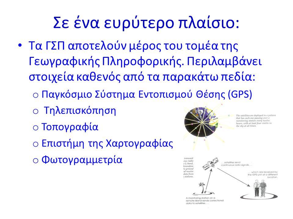 Σε ένα ευρύτερο πλαίσιο: Τα ΓΣΠ αποτελούν μέρος του τομέα της Γεωγραφικής Πληροφορικής.