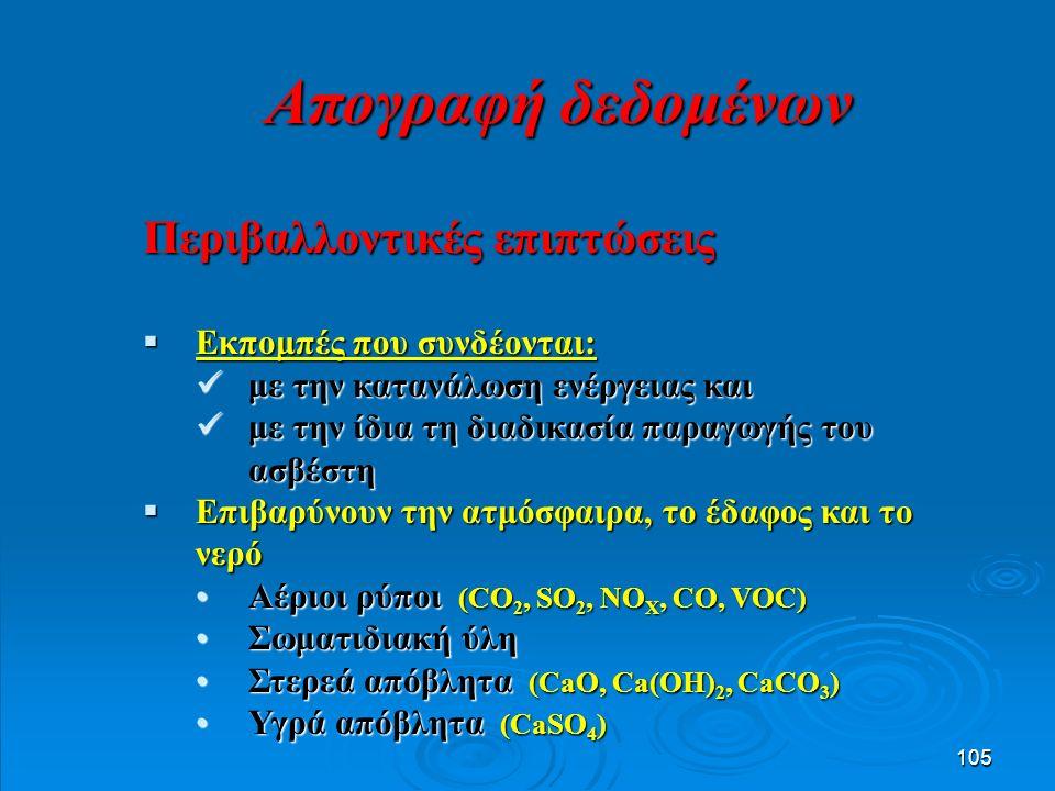 105 Περιβαλλοντικές επιπτώσεις  Εκπομπές που συνδέονται: με την κατανάλωση ενέργειας και με την κατανάλωση ενέργειας και με την ίδια τη διαδικασία παραγωγής του ασβέστη με την ίδια τη διαδικασία παραγωγής του ασβέστη  Επιβαρύνουν την ατμόσφαιρα, το έδαφος και το νερό Αέριοι ρύποι (CO 2, SO 2, NO X, CO, VOC)Αέριοι ρύποι (CO 2, SO 2, NO X, CO, VOC) Σωματιδιακή ύληΣωματιδιακή ύλη Στερεά απόβλητα (CaO, Ca(OH) 2, CaCO 3 )Στερεά απόβλητα (CaO, Ca(OH) 2, CaCO 3 ) Υγρά απόβλητα (CaSO 4 )Υγρά απόβλητα (CaSO 4 ) Απογραφή δεδομένων