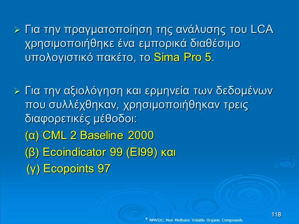 118  Για την πραγματοποίηση της ανάλυσης του LCA χρησιμοποιήθηκε ένα εμπορικά διαθέσιμο υπολογιστικό πακέτο, το Sima Pro 5.