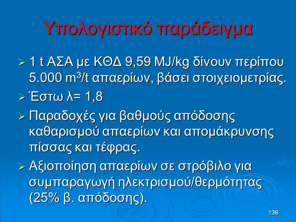 136 Υπολογιστικό παράδειγμα  1 t ΑΣΑ με ΚΘΔ 9,59 MJ/kg δίνουν περίπου 5.000 m 3 /t απαερίων, βάσει στοιχειομετρίας.