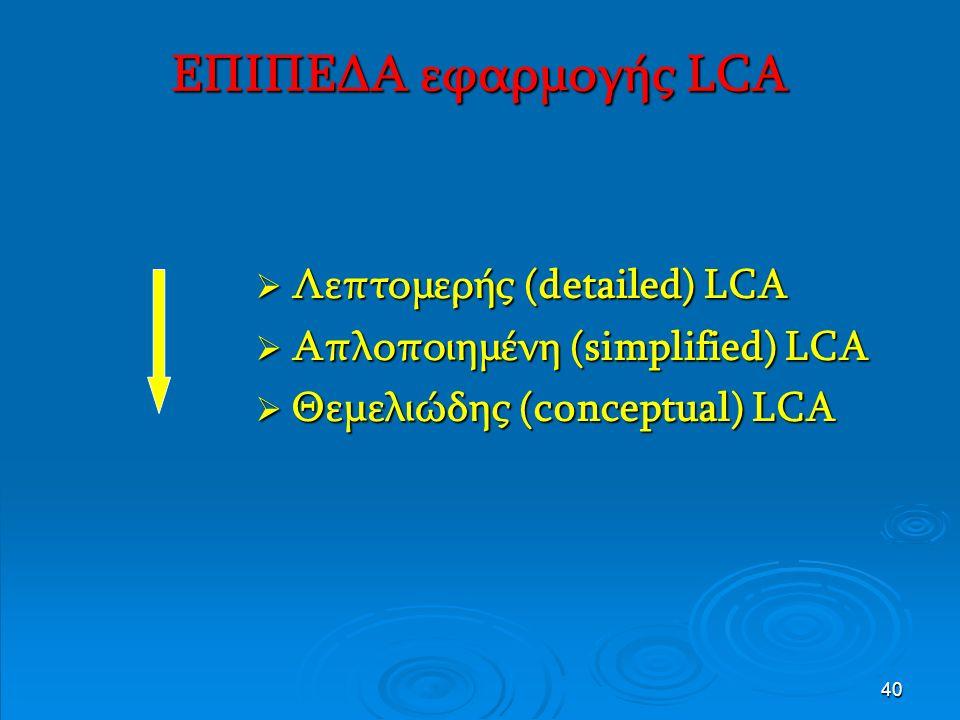 40 ΕΠΙΠΕΔΑ εφαρμογής LCA  Λεπτομερής (detailed) LCA  Απλοποιημένη (simplified) LCA  Θεμελιώδης (conceptual) LCA