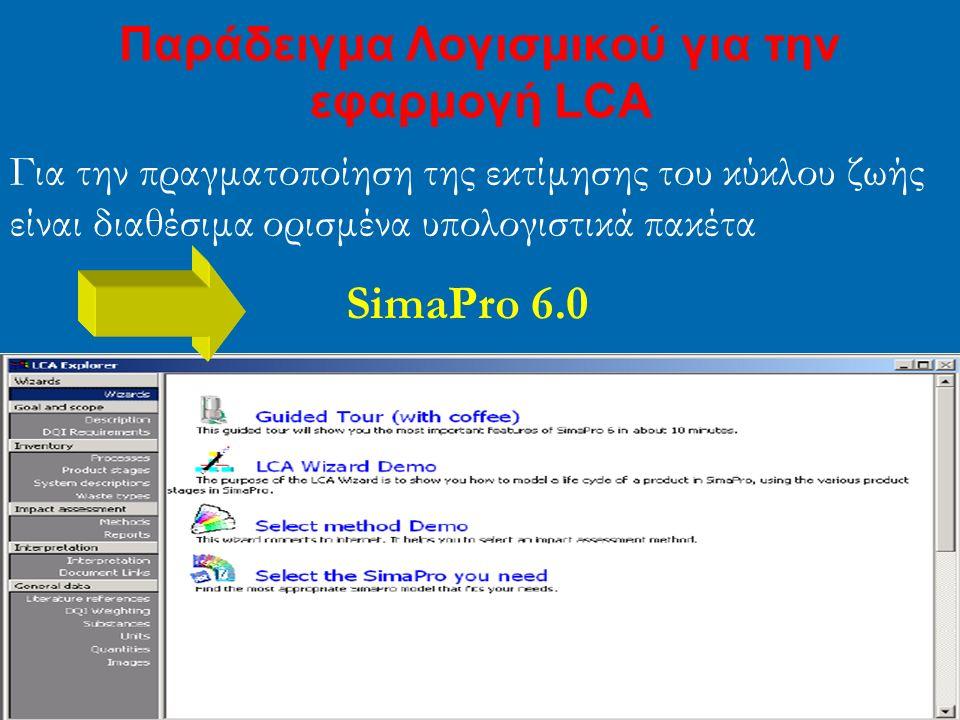 Παράδειγμα Λογισμικού για την εφαρμογή LCA Για την πραγματοποίηση της εκτίμησης του κύκλου ζωής είναι διαθέσιμα ορισμένα υπολογιστικά πακέτα SimaPro 6.0