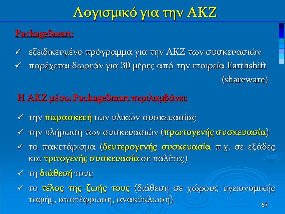 67 Λογισμικό για την ΑΚΖ PackageSmart: εξειδικευμένο πρόγραμμα για την ΑΚΖ των συσκευασιών εξειδικευμένο πρόγραμμα για την ΑΚΖ των συσκευασιών παρέχεται δωρεάν για 30 μέρες από την εταιρεία Earthshift παρέχεται δωρεάν για 30 μέρες από την εταιρεία Earthshift(shareware) Η ΑΚΖ μέσω PackageSmart περιλαμβάνει: την παρασκευή των υλικών συσκευασίας την παρασκευή των υλικών συσκευασίας την πλήρωση των συσκευασιών (πρωτογενής συσκευασία) την πλήρωση των συσκευασιών (πρωτογενής συσκευασία) το πακετάρισμα (δευτερογενής συσκευασία π.χ.