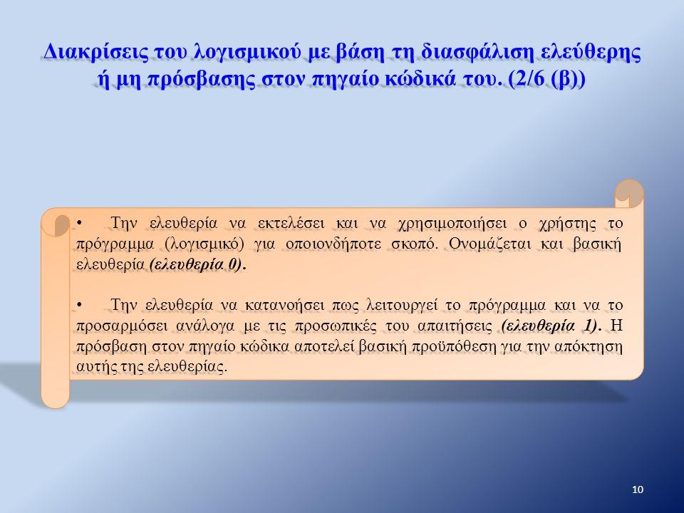 Διακρίσεις του λογισμικού με βάση τη διασφάλιση ελεύθερης ή μη πρόσβασης στον πηγαίο κώδικά του. (2/6 (β)) Την ελευθερία να εκτελέσει και να χρησιμοπο