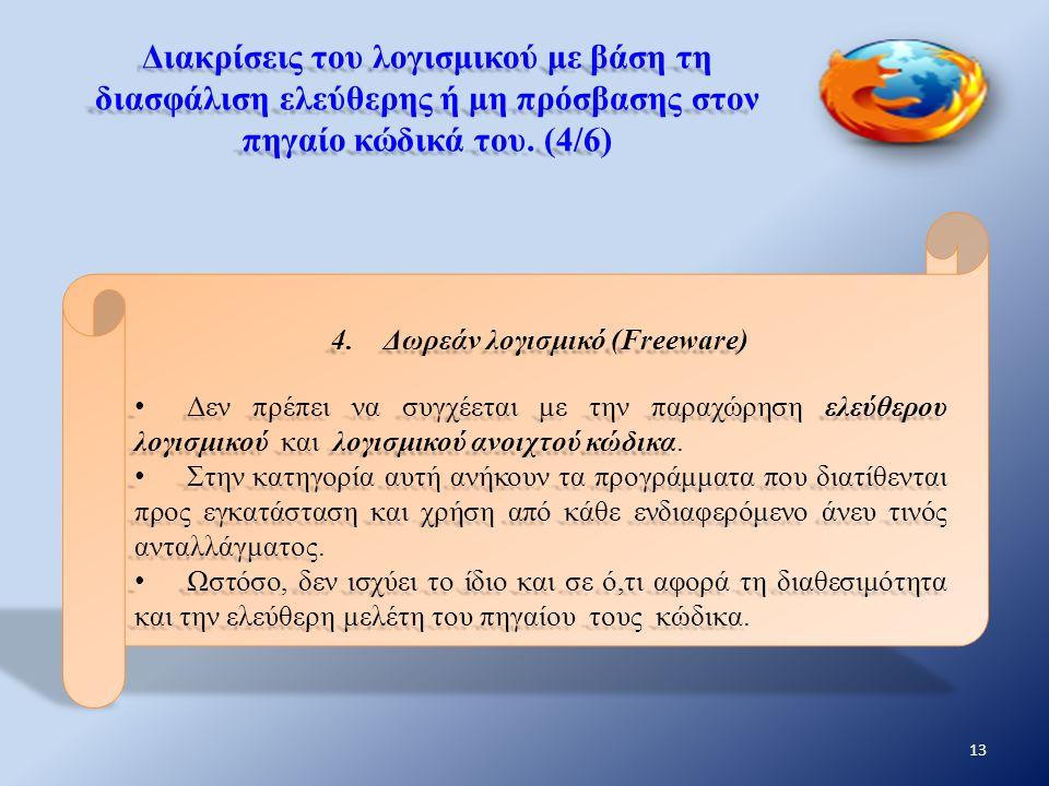 Διακρίσεις του λογισμικού με βάση τη διασφάλιση ελεύθερης ή μη πρόσβασης στον πηγαίο κώδικά του. (4/6) 4.Δωρεάν λογισμικό (Freeware) Δεν πρέπει να συγ