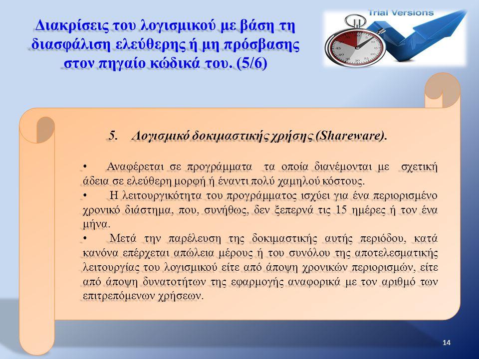 Διακρίσεις του λογισμικού με βάση τη διασφάλιση ελεύθερης ή μη πρόσβασης στον πηγαίο κώδικά του. (5/6) 5.Λογισμικό δοκιμαστικής χρήσης (Shareware). Αν