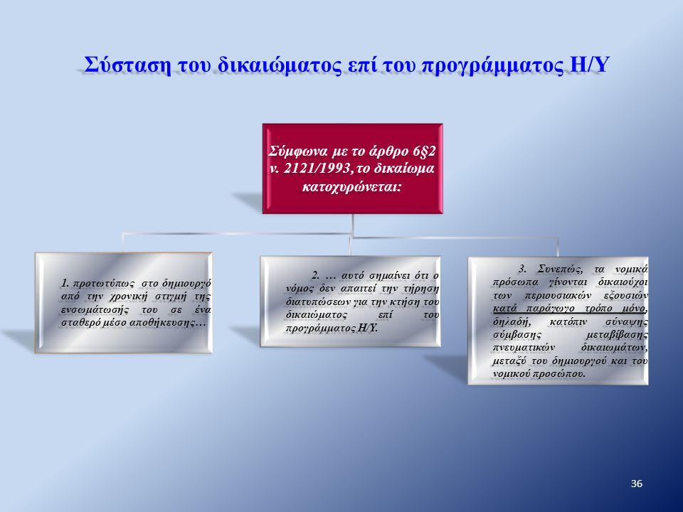 Σύσταση του δικαιώματος επί του προγράμματος Η/Υ Σύμφωνα με το άρθρο 6§2 ν. 2121/1993, το δικαίωμα κατοχυρώνεται: 1. προτωτύπως στο δημιουργό από την