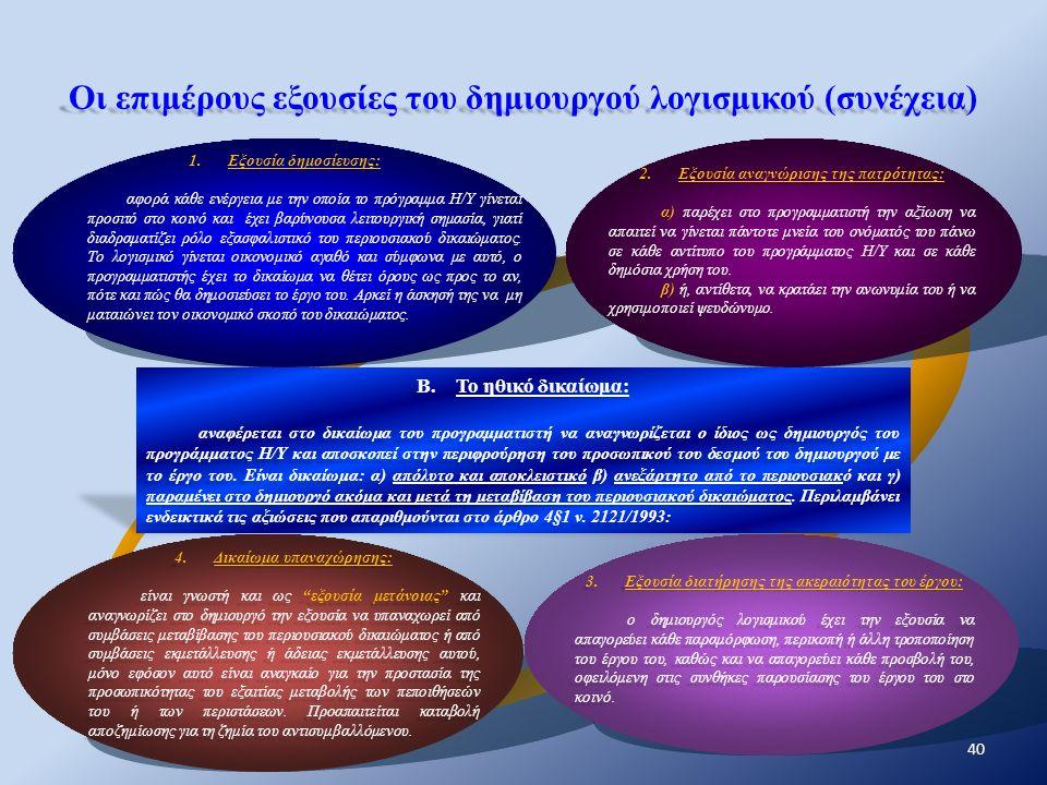 Οι επιμέρους εξουσίες του δημιουργού λογισμικού (συνέχεια) 1.Εξουσία δημοσίευσης: αφορά κάθε ενέργεια με την οποία το πρόγραμμα Η/Υ γίνεται προσιτό στ