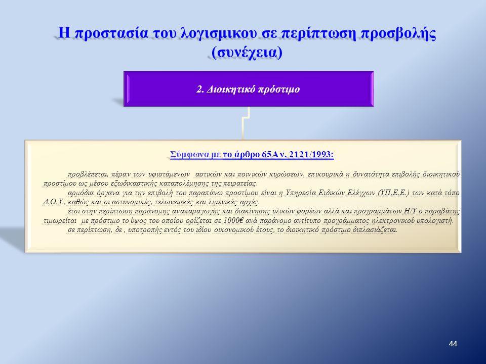 Η προστασία του λογισμικου σε περίπτωση προσβολής (συνέχεια) 2. Διοικητικό πρόστιμο Σύμφωνα με το άρθρο 65Α ν. 2121/1993: προβλέπεται, πέραν των υφιστ