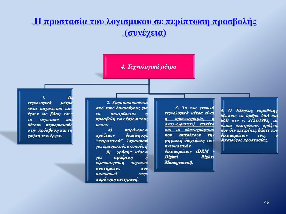 Η προστασία του λογισμικου σε περίπτωση προσβολής (συνέχεια) 4. Τεχνολογικά μέτρα 1. Τα τεχνολογικά μέτρα είναι μηχανισμοί που έχουν ως βάση τους το λ