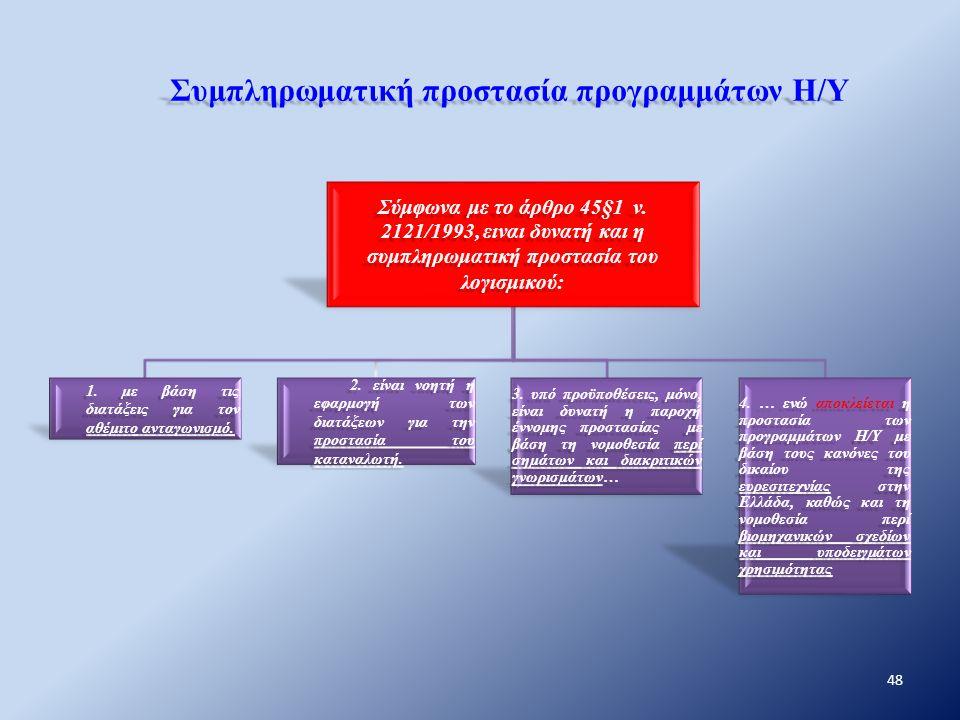 Συμπληρωματική προστασία προγραμμάτων Η/Υ Σύμφωνα με το άρθρο 45§1 ν. 2121/1993, ειναι δυνατή και η συμπληρωματική προστασία του λογισμικού: 1. με βάσ