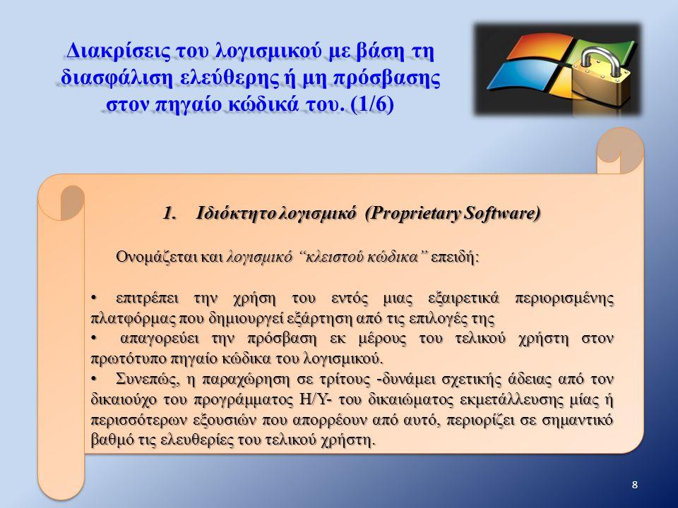 Διακρίσεις του λογισμικού με βάση τη διασφάλιση ελεύθερης ή μη πρόσβασης στον πηγαίο κώδικά του. (1/6) 1.Ιδιόκτητο λογισμικό (Proprietary Software) Ον